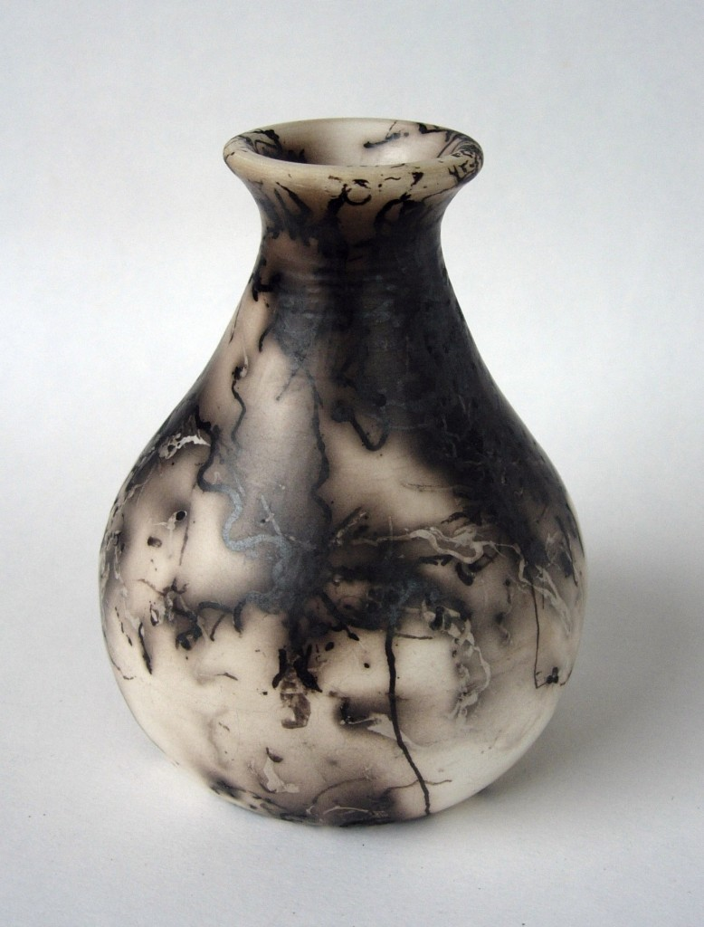 Horse hair raku bottle