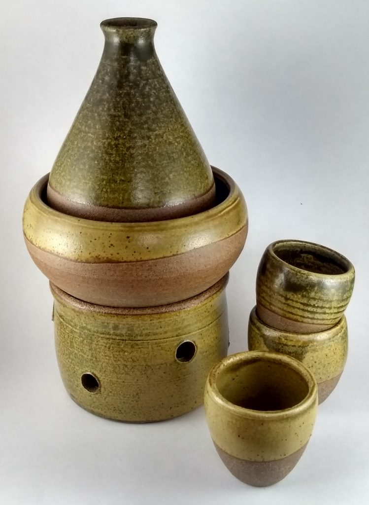 Sake warmer with bottle and cups